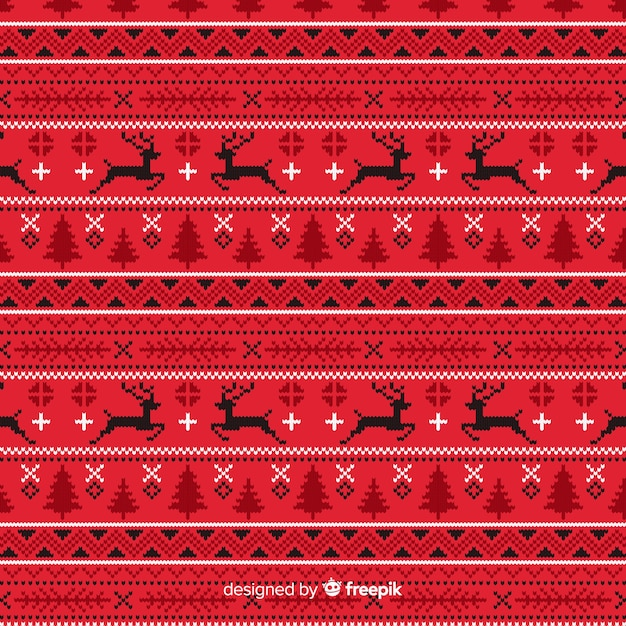 Reticolo di natale lavorato a maglia rosso Vettore gratuito