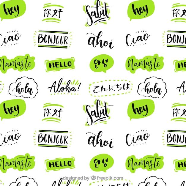 Reticolo disegnato a mano con ciao parola in diverse lingue Vettore gratuito