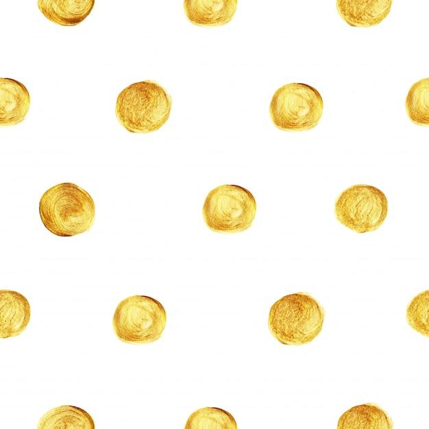 Reticolo dorato glitter polka dot senza soluzione di continuità. Vettore Premium