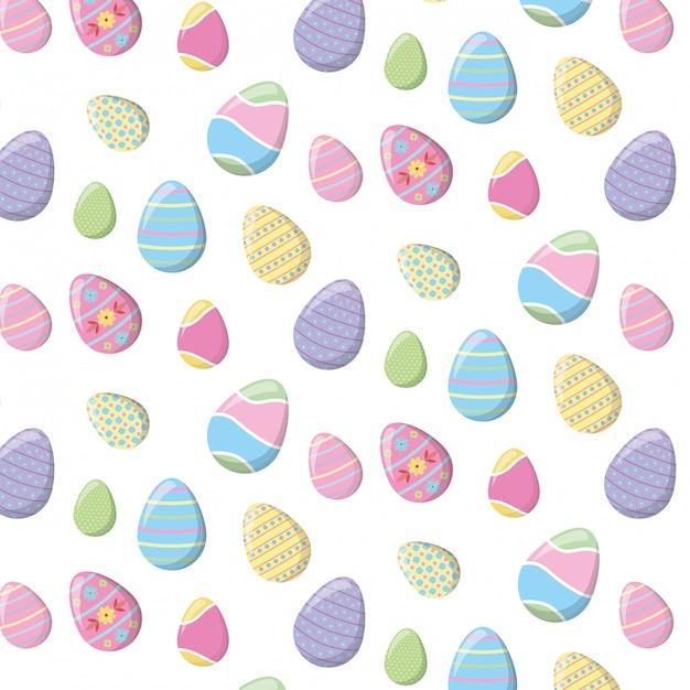 Reticolo felice di pasqua con le uova di colore Vettore gratuito