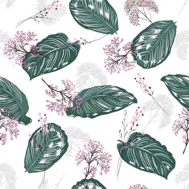 Reticolo senza giunte botanico tropicale esotico delle foglie Vettore Premium