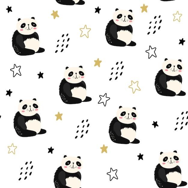 Reticolo senza giunte con i panda Vettore Premium