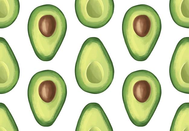 Reticolo senza giunte con l'avocado. frutta esotica tropicale Vettore Premium