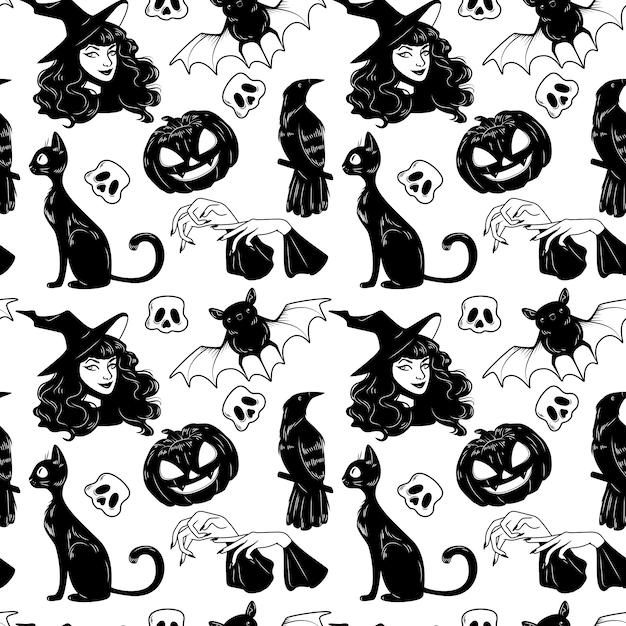 Reticolo senza giunte con l'insieme di elementi disegnato a mano sveglio di halloween. Vettore Premium