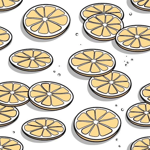 Reticolo senza giunte con le fette disegnate a mano del limone con le ombre su una priorità bassa bianca. Vettore Premium