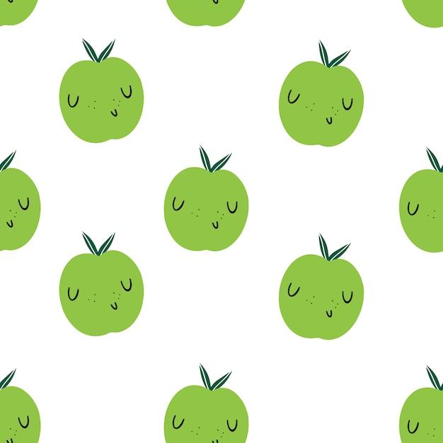 Reticolo senza giunte con le mele verdi emoji. cibo e vitamine sani Vettore Premium