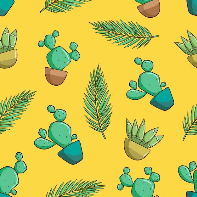 Reticolo senza giunte decorativo disegnato a mano con cactus e piante grasse. modello di doodle Vettore Premium