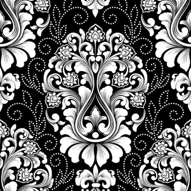 Reticolo senza giunte del damasco. squisito sfondo floreale barocco. Vettore gratuito