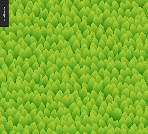 Reticolo senza giunte del fogliame. modello disegnato a mano del catroon di vettore senza cuciture della foglia verde Vettore Premium
