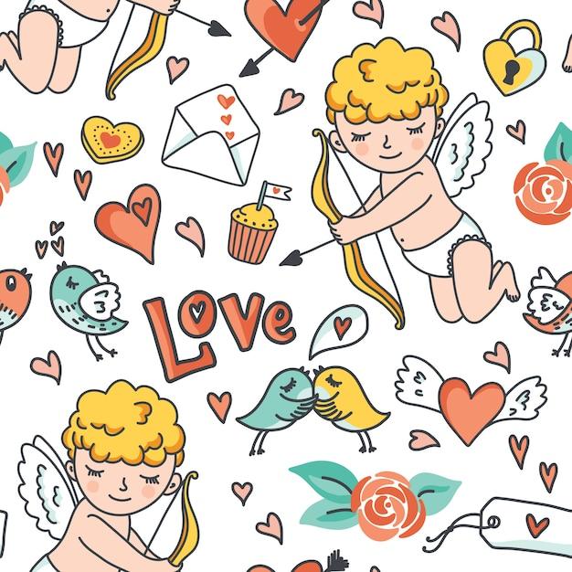 Reticolo senza giunte del fumetto romantico, cupido carino, uccelli, buste, cuori ed elementi. Vettore Premium