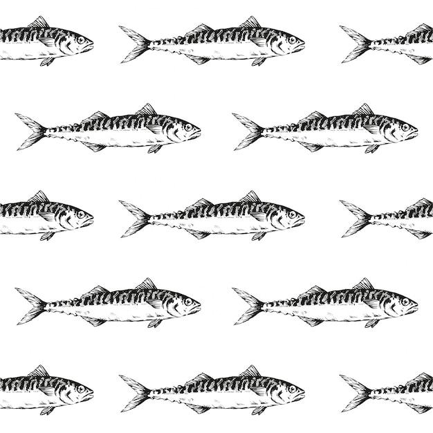 Reticolo senza giunte dell'aringa nera del pesce Vettore Premium