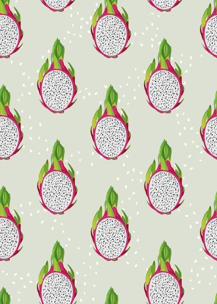 Reticolo senza giunte della fetta della frutta del drago con il seme Vettore Premium