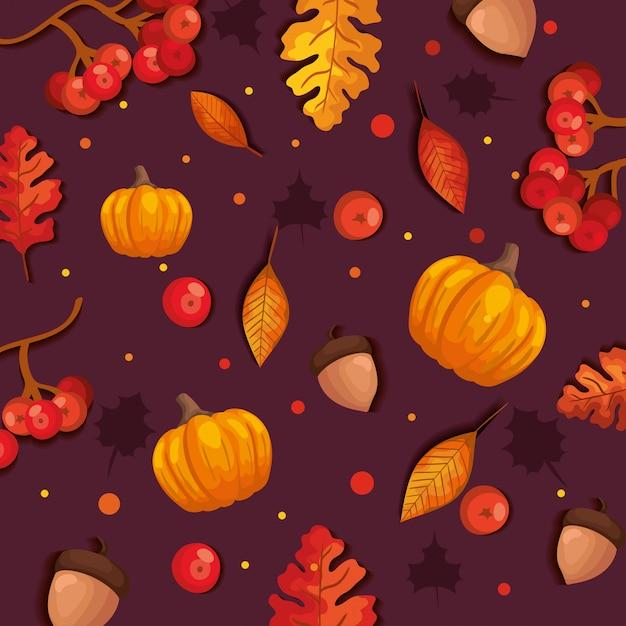Reticolo senza giunte di autunno con foglie e zucche Vettore gratuito