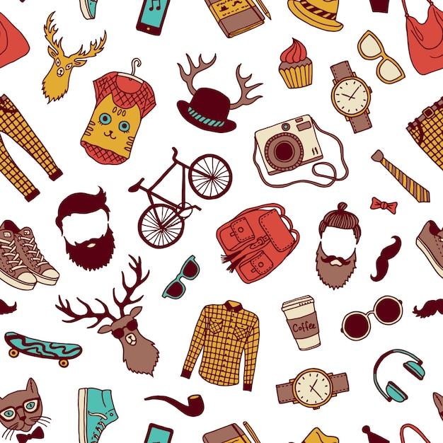 Reticolo senza giunte di doodle di hipster Vettore Premium