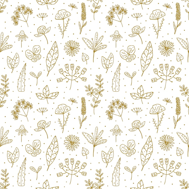 Reticolo senza giunte di doodle disegnato a mano floreale Vettore Premium