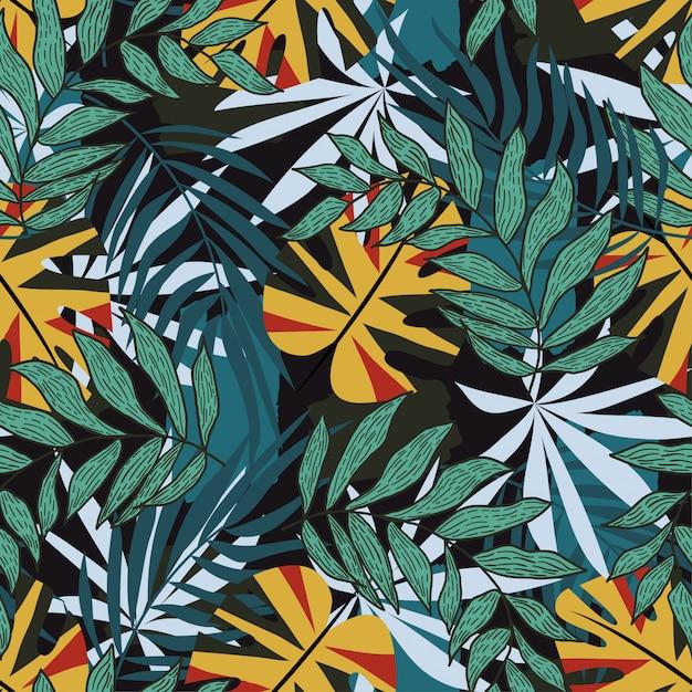 Reticolo senza giunte di estate con floreale tropicale Vettore Premium