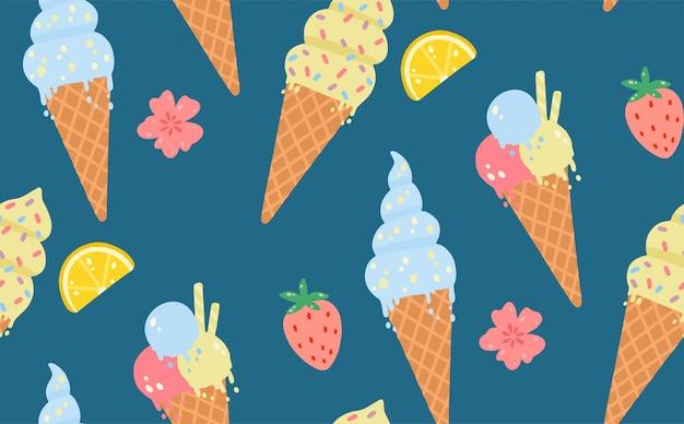Reticolo senza giunte di estate con gelato, limoni, fragole, fiori. Vettore Premium