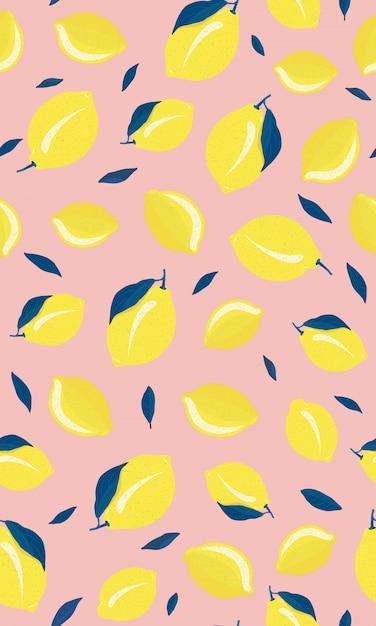 Reticolo senza giunte di frutti di limone Vettore Premium