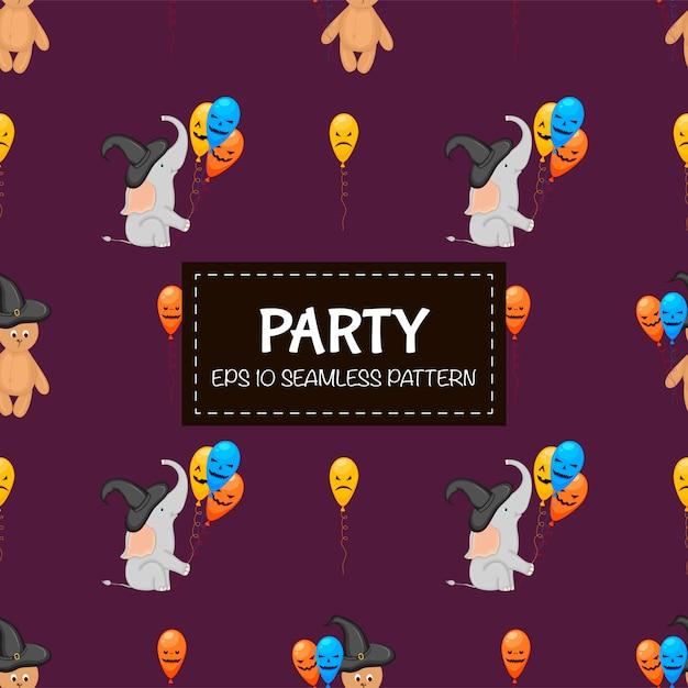 Reticolo senza giunte di halloween con gli elefanti. stile cartone animato. Vettore Premium