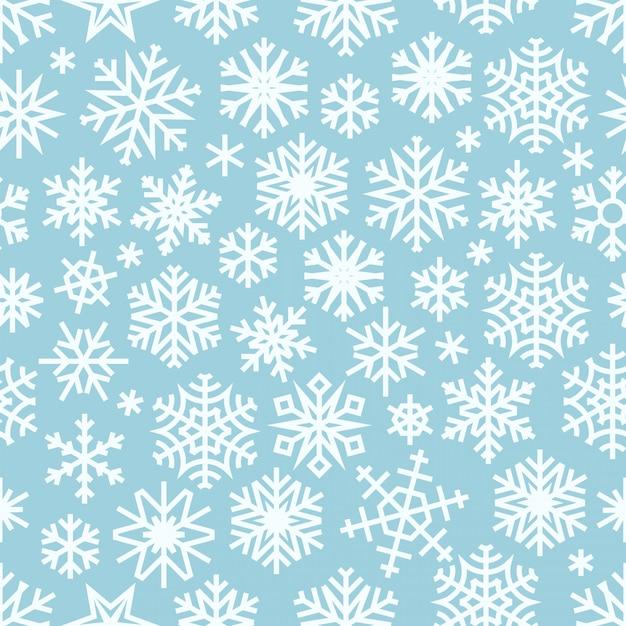 Reticolo senza giunte di inverno con fiocchi di neve bianchi. Vettore Premium
