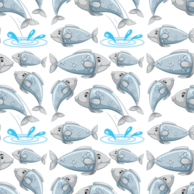 Reticolo senza giunte di pesce del fumetto Vettore gratuito