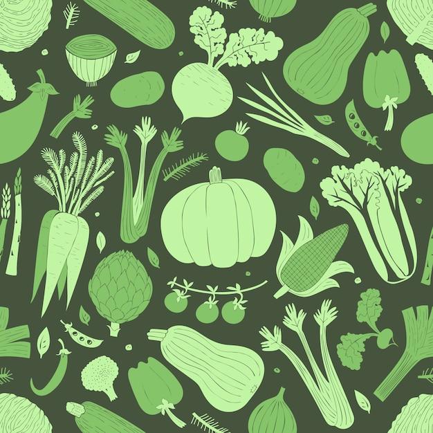 Reticolo senza giunte di verdure disegnate a mano del fumetto. Vettore Premium