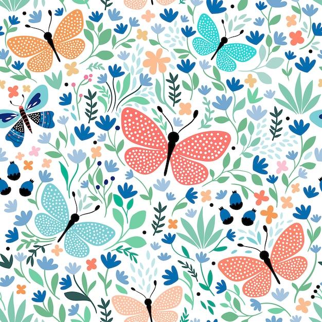 Reticolo senza giunte disegnato a mano con farfalle e piante Vettore Premium