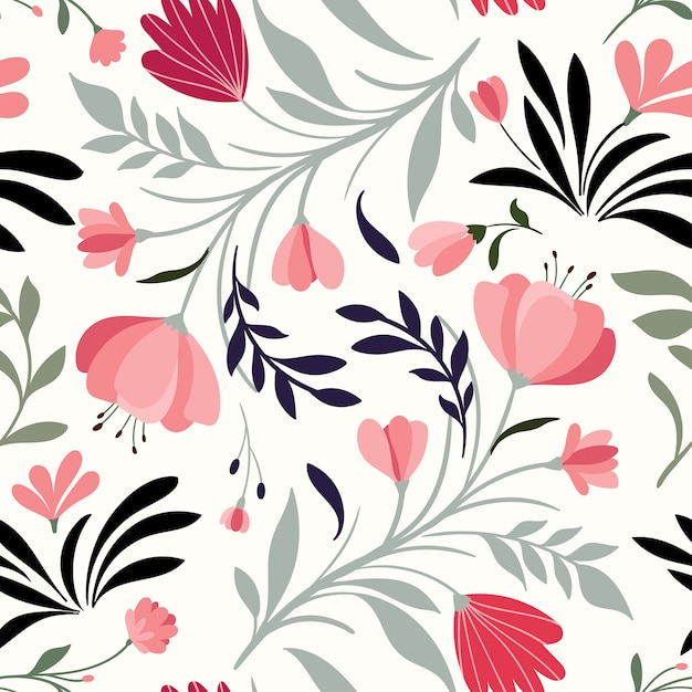 Reticolo senza giunte disegnato a mano con fiori e piante decorativi Vettore Premium