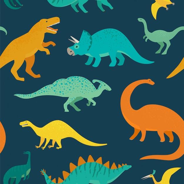 Reticolo senza giunte disegnato a mano con i dinosauri. perfetto per bambini in tessuto, tessuto, carta da parati per bambini. Vettore Premium