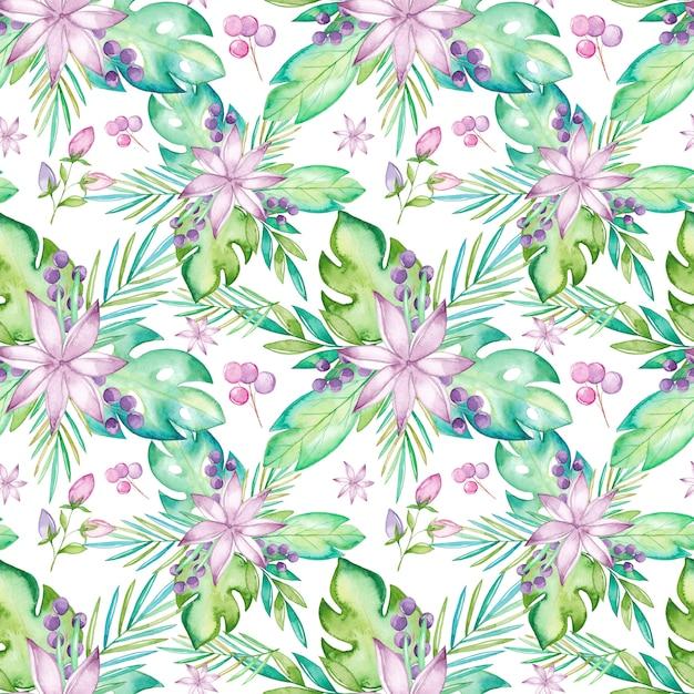 Reticolo senza giunte tropicale dell'acquerello con fiori e foglie Vettore Premium