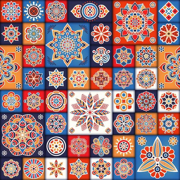 Reticolo senza soluzione di continuità floreale etnica reticolo ornamentale astratto Vettore gratuito