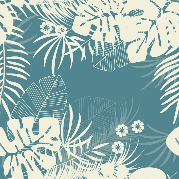 Reticolo tropicale senza giunte di estate con foglie di palma monstera e piante su sfondo blu Vettore Premium