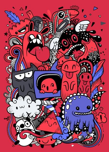 Reticolo urbano del grunge astratto con il carattere del mostro, disegno eccellente nello stile dei graffiti. illustrazione vettoriale Vettore Premium