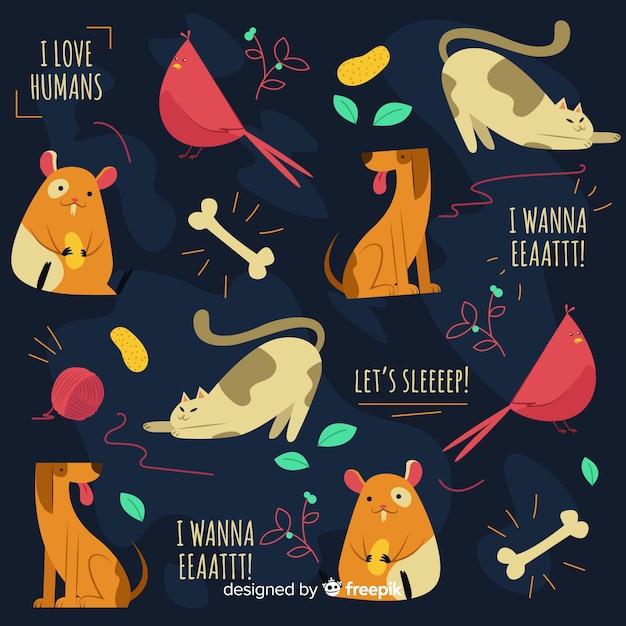 Reticolo variopinto di animali e parole di doodle Vettore gratuito