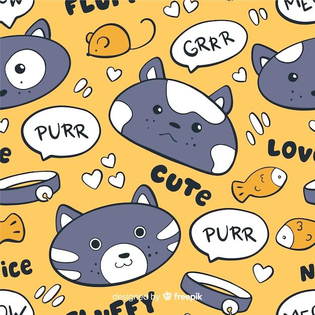 Reticolo variopinto di gatti e parole di doodle Vettore gratuito