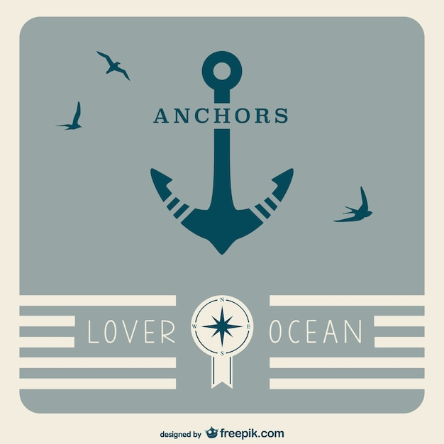 Retro ancoraggio manifesto nautico Vettore gratuito