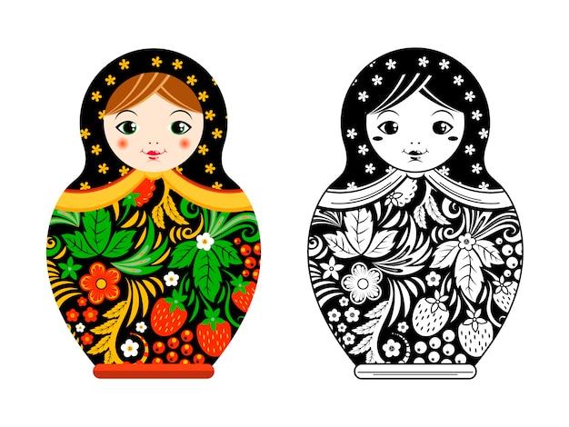 Retro bambola russa. matrioska dipinta in stile khokhloma. Vettore Premium
