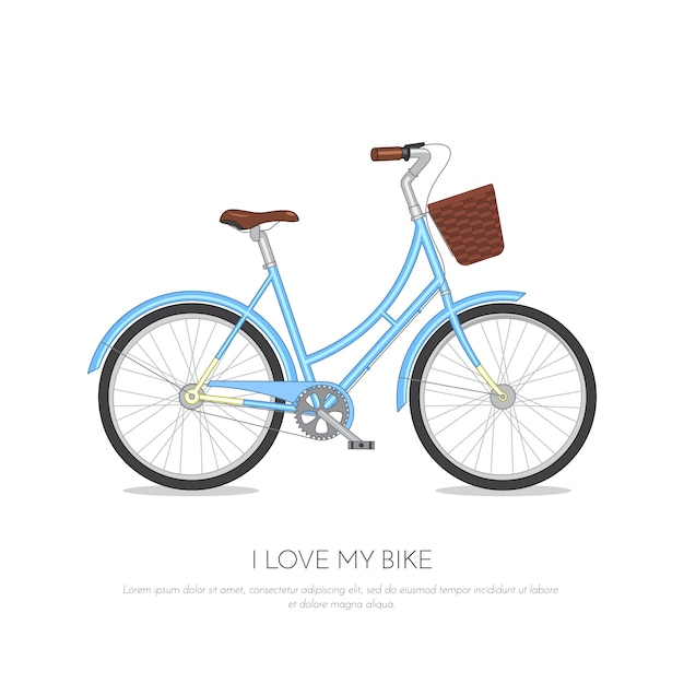 Retro bicicletta blu con il cestino isolato su priorità bassa bianca. bici colorata illustrazione vettoriale piatto Vettore Premium