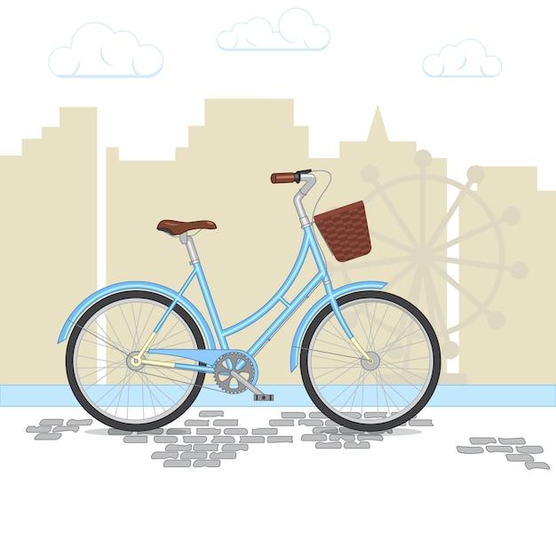 Retro bicicletta blu con il cestino sulla priorità bassa della città. bici colorata nel parco. illustrazione vettoriale piatto Vettore Premium