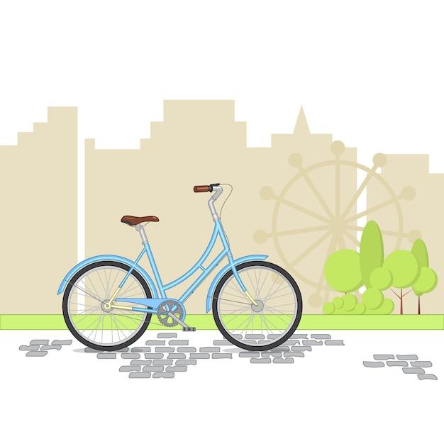 Retro bicicletta blu sulla priorità bassa della città. bici colorata nel parco. illustrazione vettoriale piatto Vettore Premium