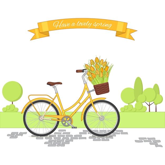 Retro bicicletta gialla sul fondo del parco di riciclaggio. bici d'epoca colorata. Vettore Premium