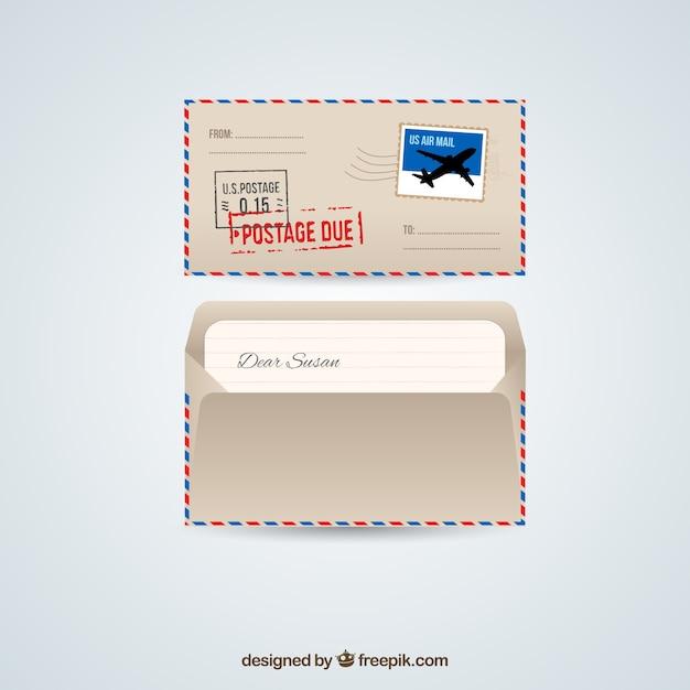 Retro busta di posta aerea Vettore gratuito