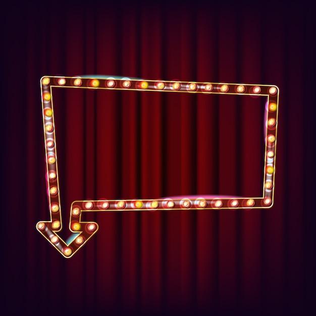 Retro cartellone vettoriale. cartello luminoso. cornice lampada realistica. elemento incandescente 3d. luce al neon illuminata vintage. carnevale, circo, casino style. illustrazione Vettore Premium