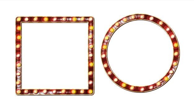 Retro cartellone vettoriale. cartello luminoso. realistico telaio della lampada shine. elemento incandescente elettrico 3d. luce al neon illuminata d'oro vintage. illustrazione isolata Vettore Premium