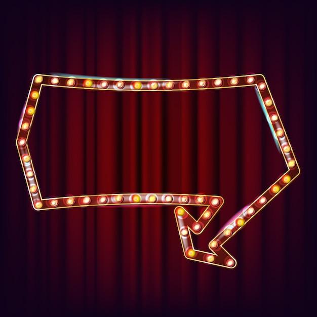 Retro cartellone vettoriale. cartello luminoso. telaio della lampada shine. elemento incandescente. luce al neon illuminata vintage. stile casinò. illustrazione Vettore Premium