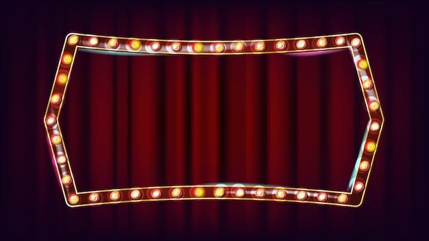 Retro cartellone vettoriale. realistico telaio della lampada shine. elemento incandescente elettrico 3d. luce al neon illuminata d'oro vintage. carnevale, circo, casino style. illustrazione Vettore Premium