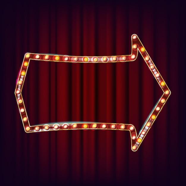 Retro cartellone vettoriale. realistico telaio della lampada shine. elemento incandescente elettrico 3d. luce al neon illuminata d'oro vintage. illustrazione Vettore Premium