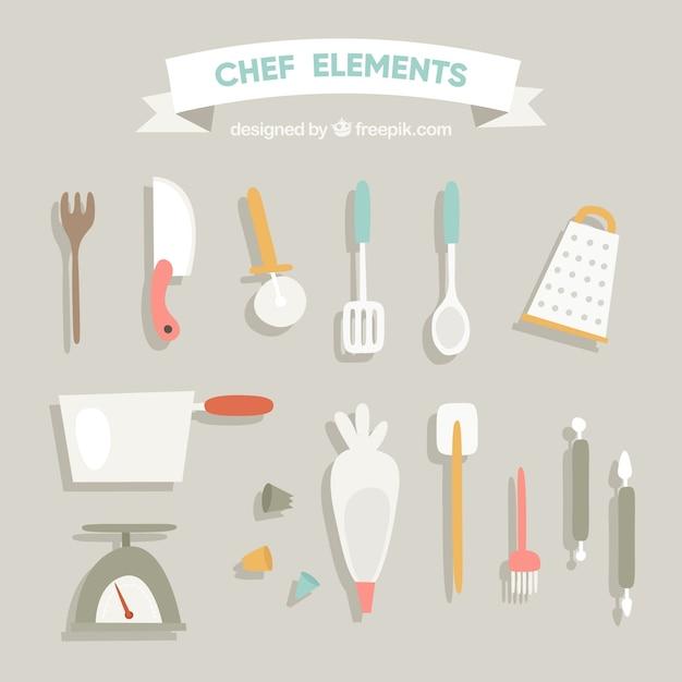 Retro collezione di utensili da cucina in design piatto for Utensili da cucina di design