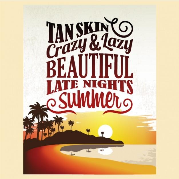 Retro dell'annata estate poster design Vettore gratuito