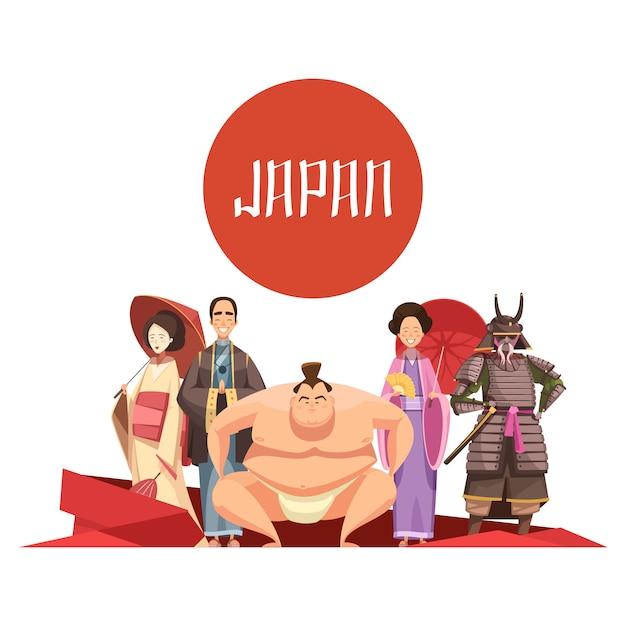 Retro disegno del fumetto delle persone giapponesi con l'uomo e le donne nel lottatore di sumo del samurai dell'abbigliamento nazionale Vettore gratuito